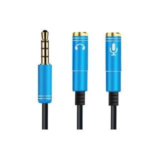 3.5mm変換アダプタケーブル 4極(オス)ヘッドホンマイク(メス)用分配ケーブル カラー3色 ミニ...