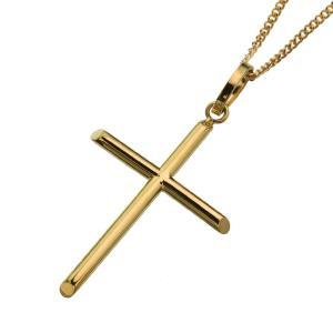 K18 ゴールド スティック クロス ペンダント (トップのみ) メンズ シンプル 十字架 ゴールド...