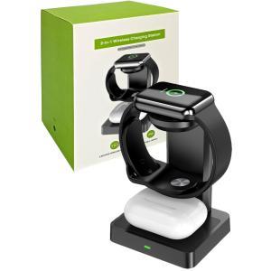 ワイヤレス充電器 2in1 省スペース 置くだけで充電 apple watch(2.5W) Air Pods(5W) 急速充電 非接触充電機種対応|biracle