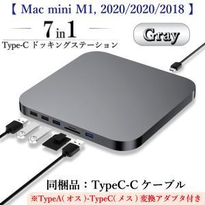 【Mac mini全機種対応】Type-C ドッキングステーション (スペースグレー)/2.5インチ SATA HDD/SSDインターフェース含む7in1ハブ|biracle