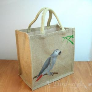 インコ 鳥柄 雑貨/ヨウムのジュートバッグ bird-style