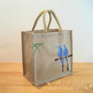 インコ 鳥柄 雑貨/セキセイインコのジュートバッグ ブルー bird-style