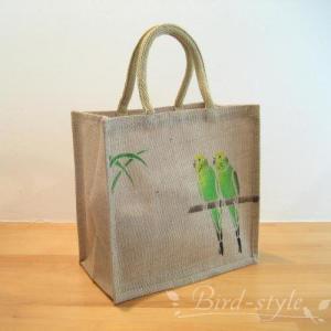 インコ 鳥柄 雑貨/セキセイインコのジュートバッグ グリーン bird-style
