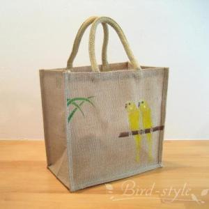 インコ 鳥柄 雑貨/セキセイインコのジュートバッグ イエロー bird-style