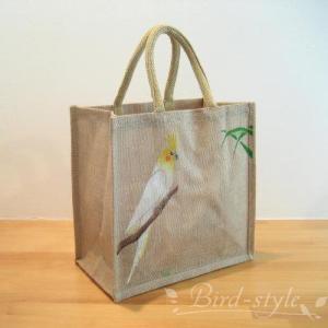 インコ 鳥柄 雑貨/オカメインコのジュートバッグ ルチノー bird-style
