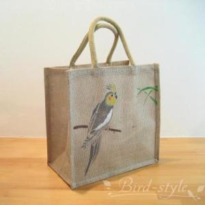 インコ 鳥柄 雑貨/オカメインコのジュートバッグ ノーマル bird-style