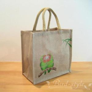 インコ 鳥柄 雑貨/コザクラインコのジュートバッグ bird-style