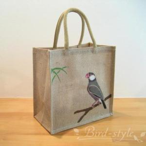 インコ 鳥柄 雑貨/文鳥のジュートバッグ bird-style