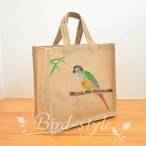インコ 鳥柄 雑貨/ウロコインコのジュートバッグ bird-style