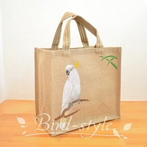 インコ 鳥柄 雑貨/キバタン(白オウム)のジュートバッグ bird-style