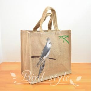 インコ 鳥柄 雑貨/オカメインコのジュートバッグ ホワイトフェイス bird-style