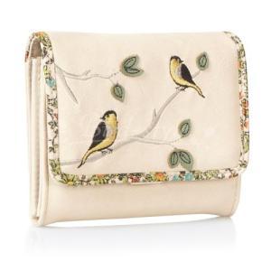 鳥柄 雑貨 グッズ/小鳥の刺繍入り二つ折り財布 クリーム|bird-style