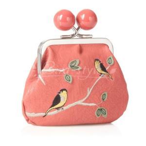 鳥柄 雑貨 グッズ/小鳥の刺繍入りがま口財布 ピーチ|bird-style