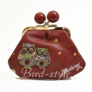 鳥柄 雑貨 グッズ/フクロウの刺繍入りコインパース(がま口) ボルドー|bird-style