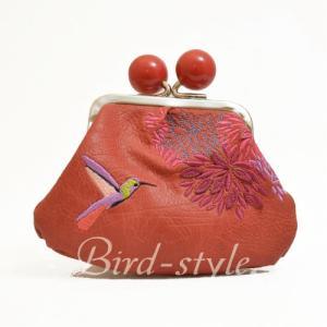 鳥柄 雑貨 グッズ/ハミングバードの刺繍入りコインパース(がま口) ピーチ|bird-style