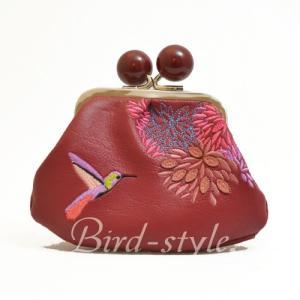 鳥柄 雑貨 グッズ/ハミングバードの刺繍入りコインパース(がま口) ワイン|bird-style