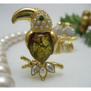 インコ 雑貨/鳥のブローチ オオハシ Golden Tone bird-style