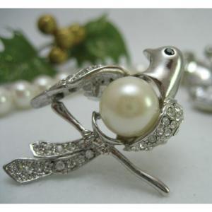 インコ 雑貨/鳥のブローチ パールダヴ bird-style