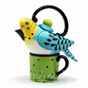 セキセイインコのティーポット&マグカップ 青|bird-style