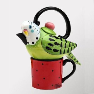 セキセイインコのティーポット&マグカップ 緑|bird-style