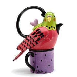 セキセイインコのティーポット&マグカップ ピンク|bird-style