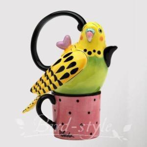 セキセイインコのティーポット&マグカップ 黄色|bird-style
