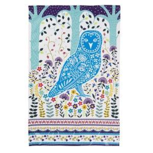 鳥柄 雑貨 グッズ/フクロウのコットンティータオル Woodland Owl|bird-style