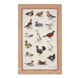 鳥柄 雑貨 グッズ/野鳥のリネンティータオル Game Birds|bird-style