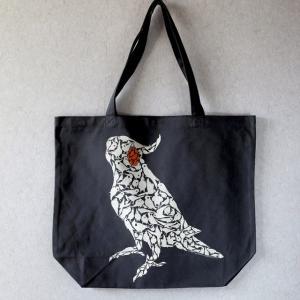 TOMOYAMASHITA DESIGN STUDIO. / オカメインコ ビッグ トートバッグ ブラック ( BIRDMORE バードモア 鳥用品 鳥グッズ 雑貨 グッズ 鳥 とり トリ インコ  プレ|birdmore