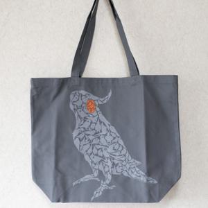 TOMOYAMASHITA DESIGN STUDIO. / オカメインコ ビッグ トートバッグ グレー ( BIRDMORE バードモア 鳥用品 鳥グッズ 雑貨 グッズ 鳥 とり トリ インコ )|birdmore
