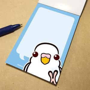 いんこ屋堂 メモ帳 おしゃべりセキセイインコ アルビノ 054A0266 ネコポス 対応可能  BIRDMORE バードモア 鳥グッズ 鳥用品 雑貨 鳥 バード プレゼント birdmore
