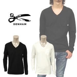 デンハム デニム ヨーロッパ 人気急上昇 ロンT ロング スリーブ カジュアル メンズ 長袖 Vネック Tシャツ DENHAM 01-13-01-51-050 BURNUM V L/S VR|birigo