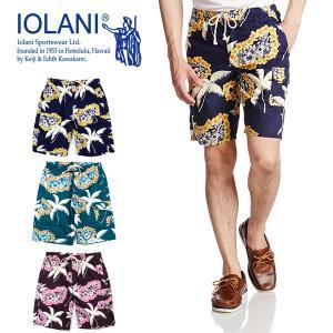 イオラニ カジュアル メンズ アロハ ハーフ パンツ IOLANI 142502 ハワイアン ボード ショーツ ウクレレ・レイ|birigo