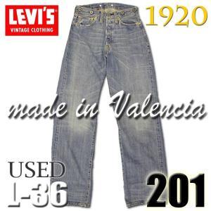 LEVIS 20201 0128ユーズド加工 L36インチ1920年モデル復刻版201青耳デニム 白い布パッチ黒いドーナツボタン 米国製トップボタン裏 555 刻印バレンシア製 バック|birigo