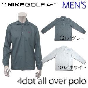 ナイキ ゴルフ ポロシャツ メンズ NIKE GOLF 390216 4ドット オールオーバー プリント ロングスリーブ ポロ|birigo