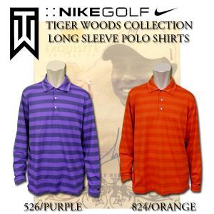 ナイキ ゴルフ ポロシャツ メンズ NIKE GOLF 391345 タイガーウッズ コレクション ロングスリーブ ボーダー ポロ|birigo