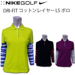 ナイキ ゴルフ レディース 長袖 ポロシャツ NIKE GOLF LADYS トップス 427119 DRI-FIT コットン レイヤー スポーツ 女性 婦人 おしゃれ かわいい|birigo