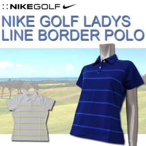 ナイキ レディース NIKE GOLF LADYS 427131 ゴルフ ラインボーダー ポロシャツ タイトシルエット ストレッチ ワンポイント スウッシュ刺繍ロゴ ドライフィット|birigo