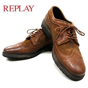 リプレイ メンズ 革靴 REPLAY GMC20 000 メダリオン シューズ birigo