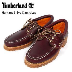ティンバーランド メンズ シューズ デッキ モカシン 3アイレット クラシック ラグ バーガンディー 靴 Timberland 50009 W/L Heritage 3-Eye Classic Lug|birigo