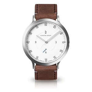 Lilienthal Berlin Watch - Made in Germany - Designed in Berlin. Model L1 with Stainless Steel Case (Case: Silver/Dial: White/Bracelet: Brown, Size: 42|birmingham-ex