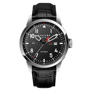 Panzera Flight Master Automatic Swiss Made Steel Pilot Black Leather Men's Watch 並行輸入品 birmingham-ex