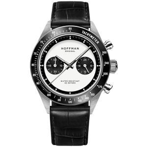 Hoffman Watches Racing 40 Panda Chronograph Hybrid Mechanical Quartz Steel Black White Leather Men's Watch 並行輸入品 birmingham-ex