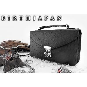 セカンドバッグ オラオラ系 ヤクザ ヤンキー 71黒 オーストリッチ 鞄 つやなしブラック 皮革調 ちょいワル 悪羅悪羅系 派手|birthjapan