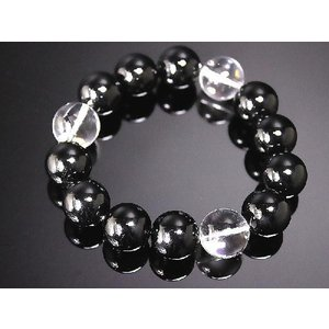 ポイント10倍 極太16mm オニキス&水晶数珠ブレスレット アクセサリーホストヤクザ 水晶 悪羅悪羅系 オラオラ系|birthjapan