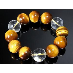 ポイント10倍 ブレスレット 数珠ブレス オラオラ系 超極太20mm 虎目石 タイガーアイ&水晶|birthjapan