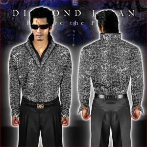 スタンド襟ドレスシャツ 柄シャツ Yシャツ ヤクザ ヤンキー オラオラ 悪羅悪羅 オラオラ系 035グレー 蛇柄 総柄 二重襟 メンズ 服 悪羅悪羅系|birthjapan