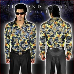 ドレスシャツ 柄シャツ Yシャツ ヤクザ ヤンキー オラオラ 悪羅悪羅 オラオラ系 038黒 総柄 金魚 メンズ 服 悪羅悪羅系|birthjapan