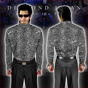 マオカラードレスシャツ 柄シャツ ヤクザ ヤンキー オラオラ 悪羅悪羅 オラオラ系 039グレー 総柄 蛇柄 メンズ 服 悪羅悪羅系|birthjapan