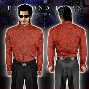 マオカラードレスシャツ 柄シャツ ヤクザ ヤンキー オラオラ 悪羅悪羅 オラオラ系 040赤 総柄 豹柄 メンズ 服 悪羅悪羅系|birthjapan